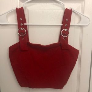 RED BELTED CROP TOP